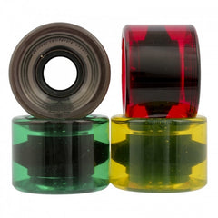 Dusters OG Softie - Clear Rasta - 59mm 83a - Skateboard Wheels (Set of 4)