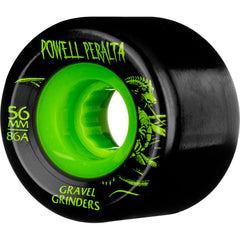 Powell Peralta Gravel Grinders - Black/Green - 56mm 86a - Skateboard Wheels (Set of 4)