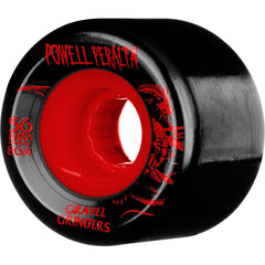 Powell Peralta Gravel Grinders - Black/Red - 56mm 86a - Skateboard Wheels (Set of 4)