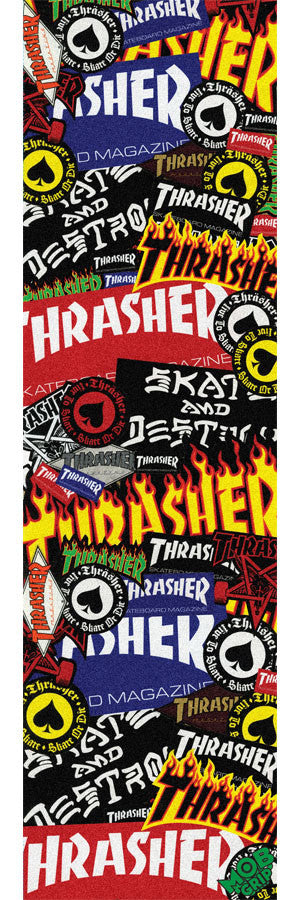 Mob Thrasher Sticker Collage Grip Tape 9in x 33in - Skateboard Griptape (1 Sheet)