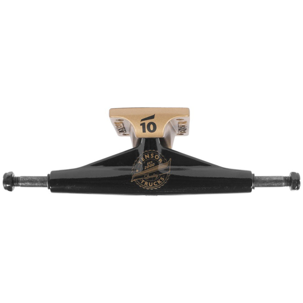 Tensor Aluminum Quality Seal Regular - Black/Gold - 5.75 - Skateboard Trucks (Set of 2)