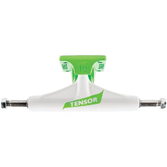 Tensor Aluminum Regular Tens Flick - White/Toxic Green - 5.25 - Skateboard Trucks (Set of 2)
