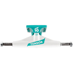 Tensor Magnesium Light Low Flick - White/Teal - 5.25 - Skateboard Trucks (Set of 2)
