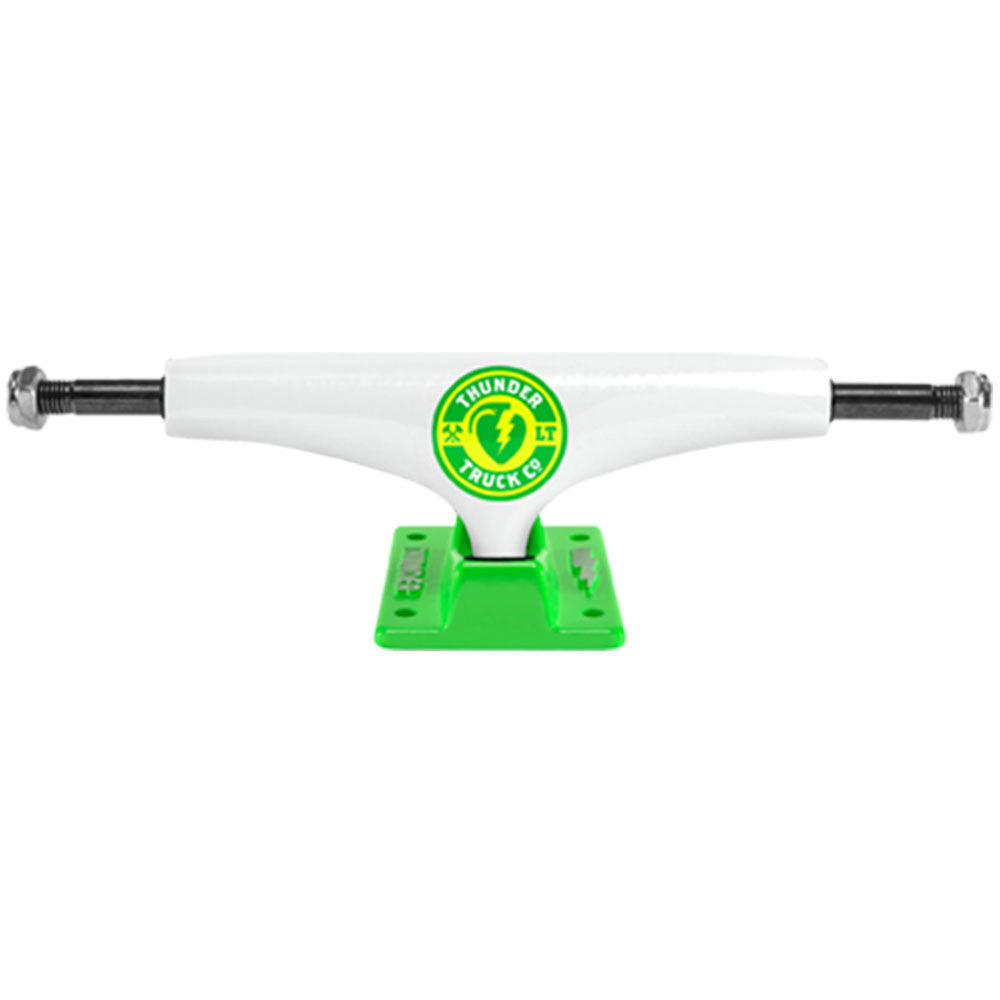 Thunder Mainliner Green Lights Low - White/Green - 145mm - Skateboard Trucks (Set of 2)