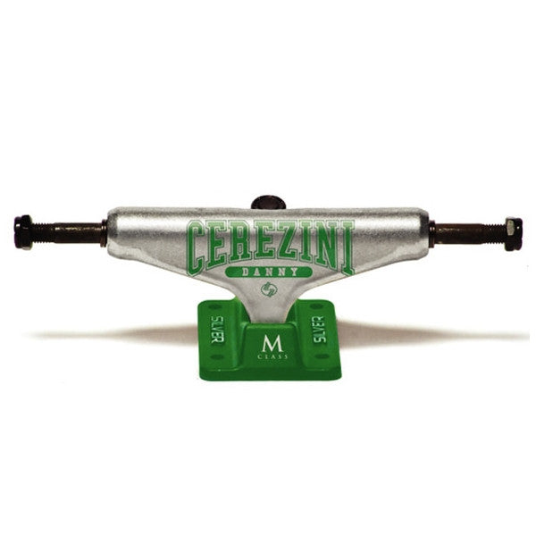 Silver Cerezini Everlast - Raw/Green - 8.0in - Skateboard Trucks (Set of 2)