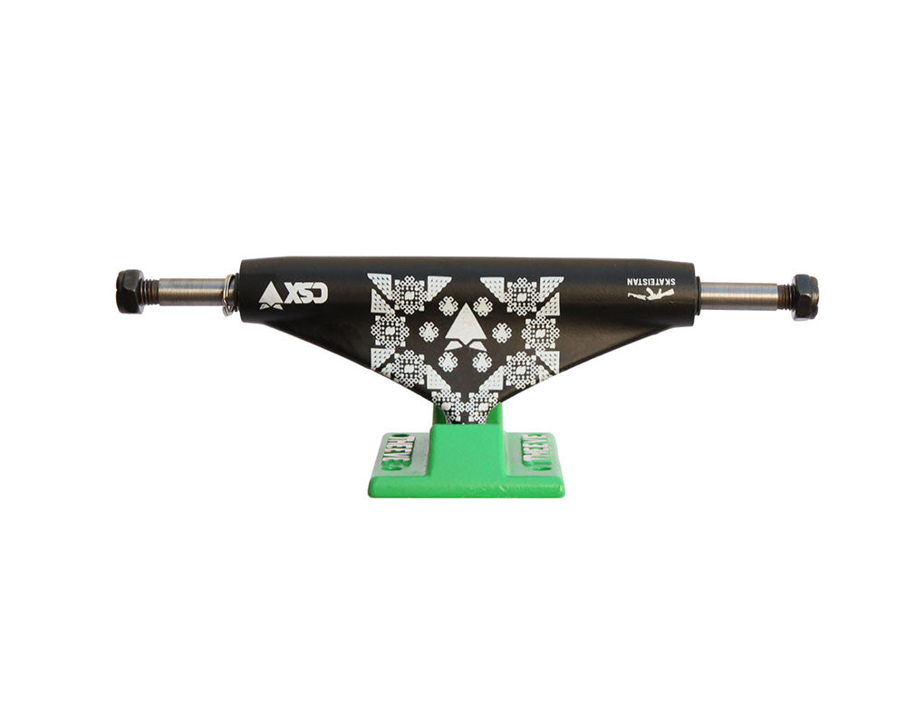 Theeve CSX Skateistan X (V3) - Black/Green - 5.0in - Skateboard Trucks (Set of 2)
