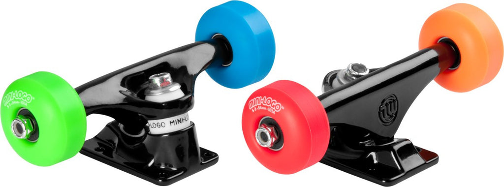"Mini Logo Trucks Assembly - 8"" Black - ML Bearings - 52mm 101a Assorted Color Wheels (Set of 2)"