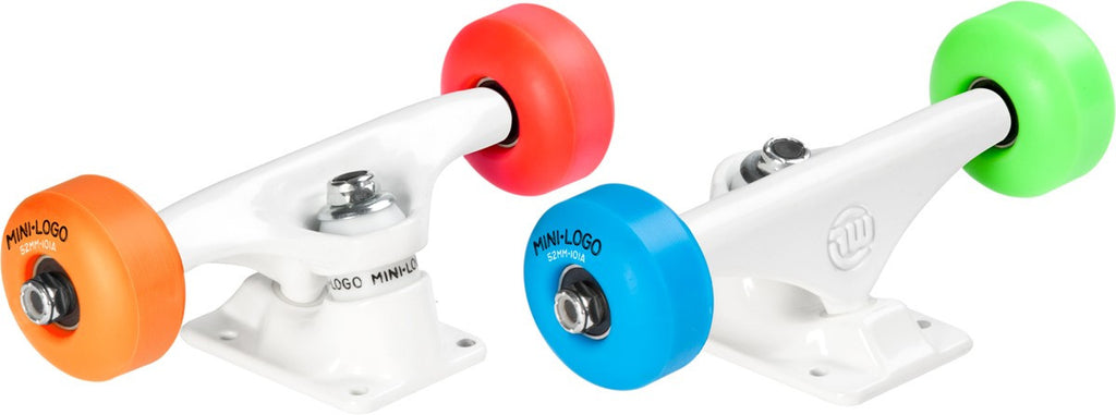 "Mini Logo Trucks Assembly - 8.38"" White - ML Bearings - 52mm 101a Assorted Color Wheels (Set of 2)"