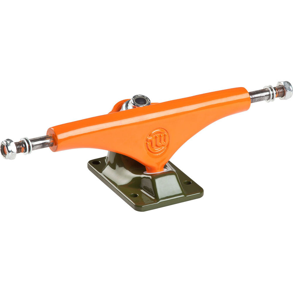 Mini Logo Split - Orange/Green - 8.38in - Skateboard Trucks (Set of 2)