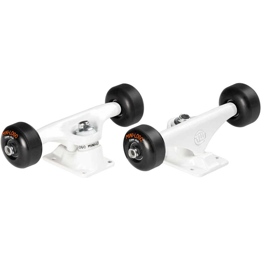 "Mini Logo Trucks Assembly - 7.63"" White - ML Bearings - 53mm 90a Black Wheels (Set of 2)"