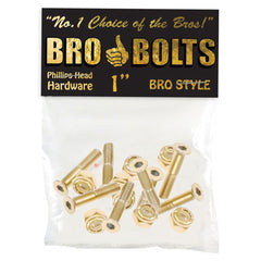 "Bro Style Hardware Phillips Gold 1"" - Skateboard Mounting Hardware"