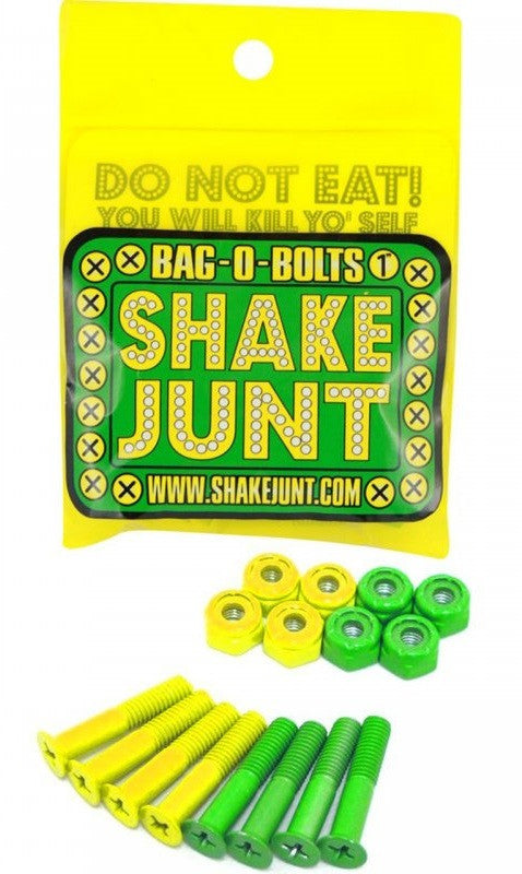 Shake Junt Bag O' Bolts Phillips - Green/Yellow - 1in - Skateboard Mounting Hardware