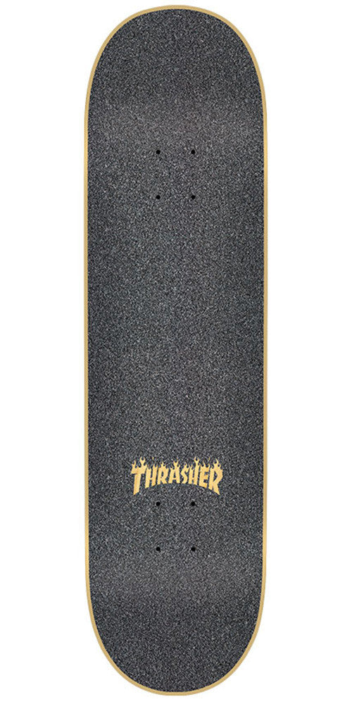 Mob Laser Cut Thrasher Flame Logo  9in x 33in - Black - Skateboard Griptape (1 Sheet)