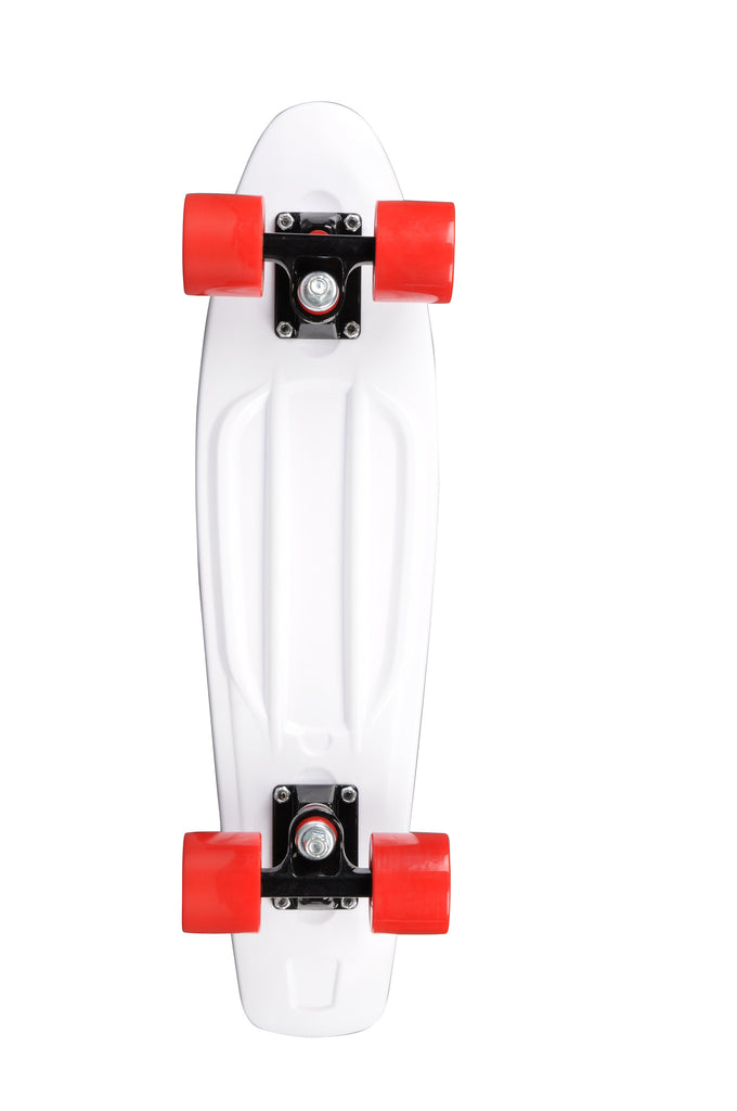 Rock On Mini Cruzer - White w/Red Wheels - Complete Skateboard