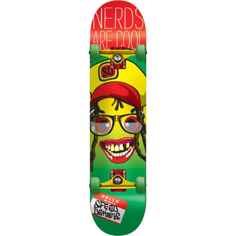 Speed Demons Nerds Are Cool - Rasta - 7.5 - Complete Skateboard