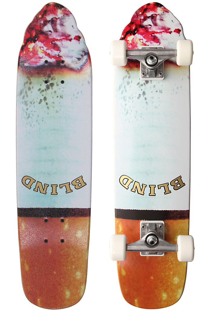 Blind Butt Board - White/Brown - 7.5in x 30.5in  - Complete Skateboard