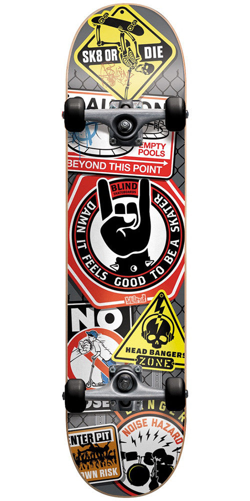 Blind Warning Signs - Grey/Black - 7.75in - Complete Skateboard