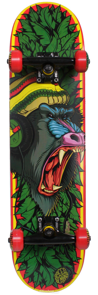 Speed Demons Roots Ape - Red - 7.4in x 31.3in - Youth Complete Skateboard