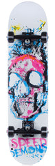 Speed Demons Pop Skull - White/Blue - 7.6in x 31in - Complete Skateboard
