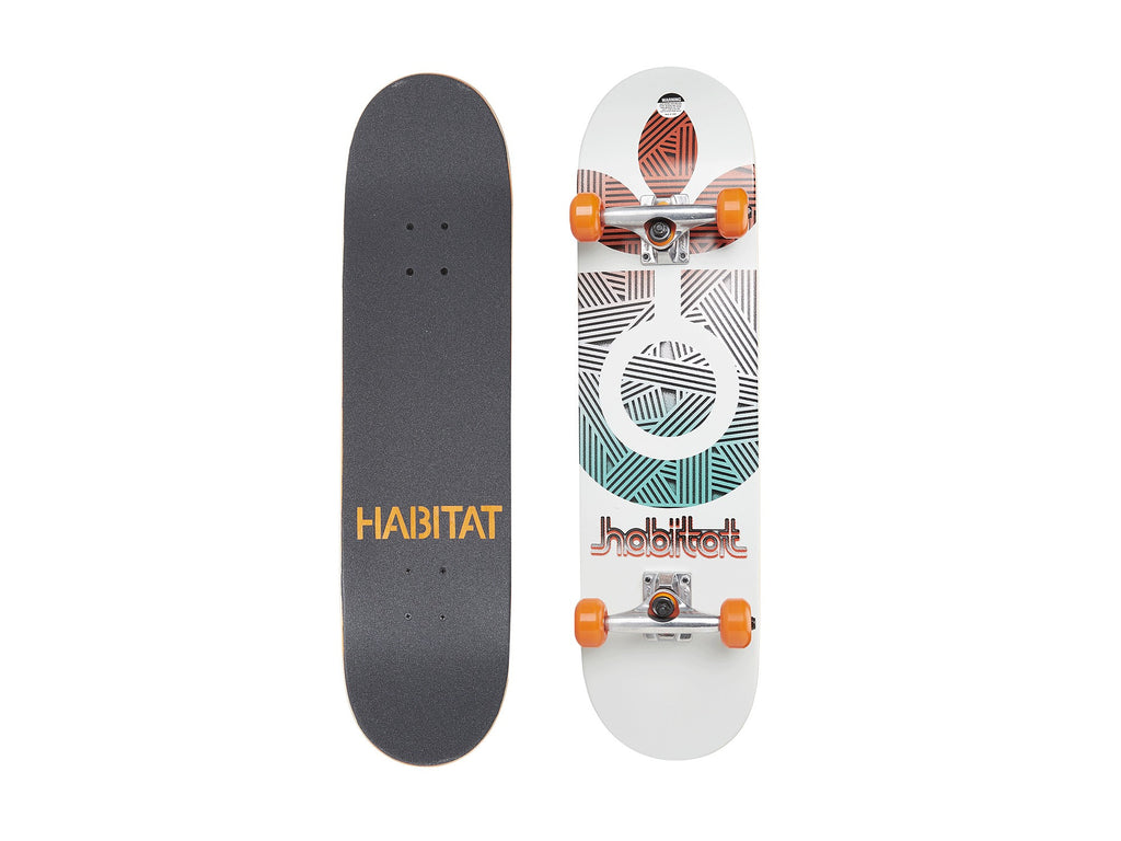 Habitat Bloom Small - White - 8.0in x 31.7in - Complete Skateboard