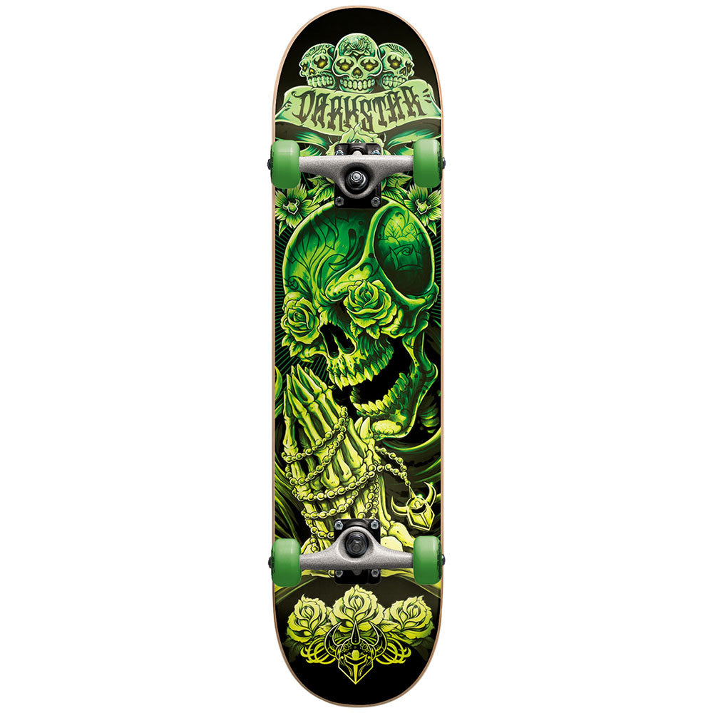 Darkstar Rosary Mid - Green/Glow In The Dark - 7.4in x 29.0in - Complete Skateboard