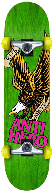 Anti-Hero Rise Above Mini - Green - 7.3 - Complete Skateboard