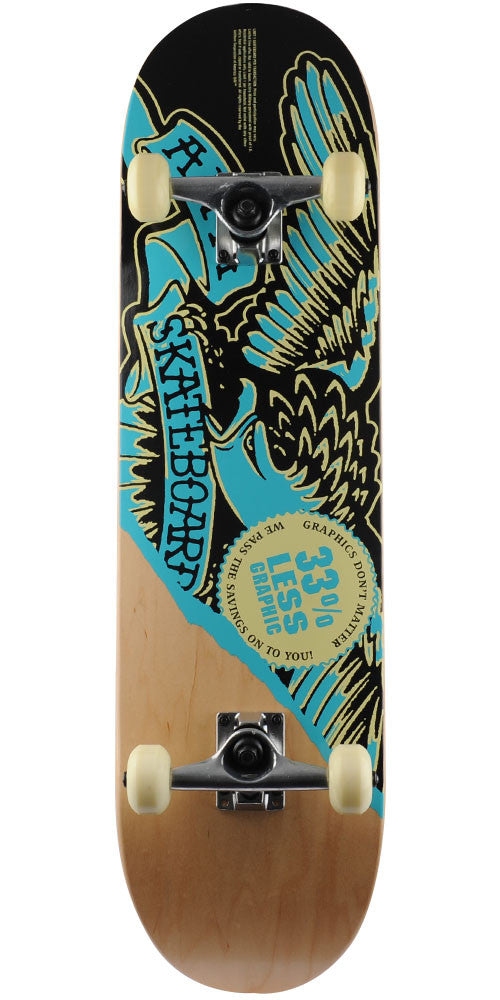 Anti-Hero Less Graphic - Natural/Black/Blue - 8.5in x 32.125in - Complete Skateboard