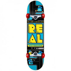 Real Games Never Over Small - Blue/Black - 7.5in x 29in - Complete Skateboard