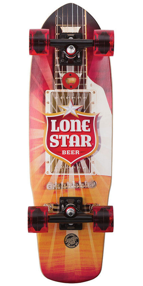 Santa Cruz PBC Lonestar Amped Cruzer - Red/Orange/White - 8.5in x 28.5in - Complete Skateboard