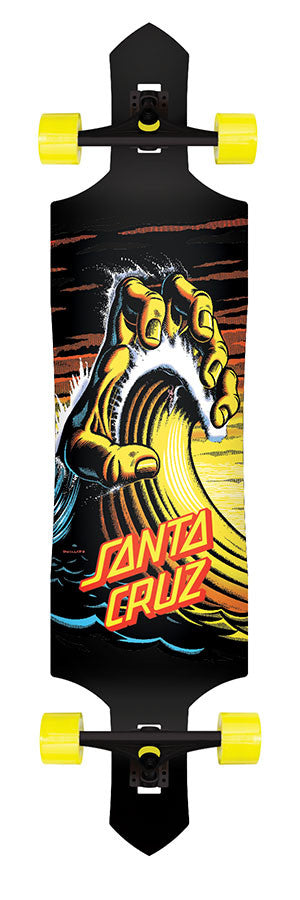 Santa Cruz Wave Hand Drop Down/Thru Cruzer - Black/Yellow - 9.5in x 42.4in - Complete Skateboard