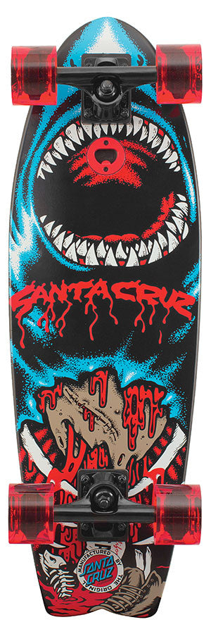Santa Cruz Retro Shark Land Shark Cruzer - Red/Blue - 8.8in x 27.7in - Complete Skateboard