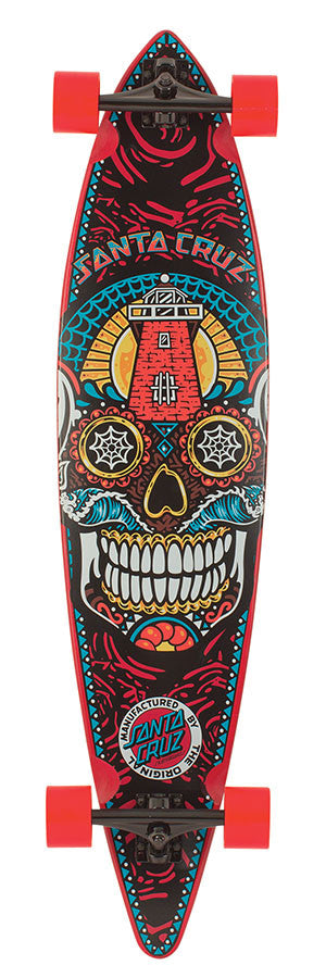 Santa Cruz Sugar Skull Pintail Cruzer - Red/Multi - 9.9in x 43.5in - Complete Skateboard