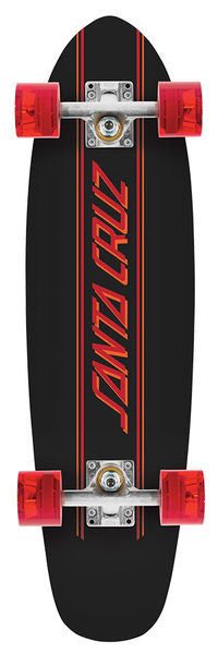 Santa Cruz 40th Anniversary Proflex Kicktail Cruzer - Black - 6.98in x 26.9in - Complete Skateboard