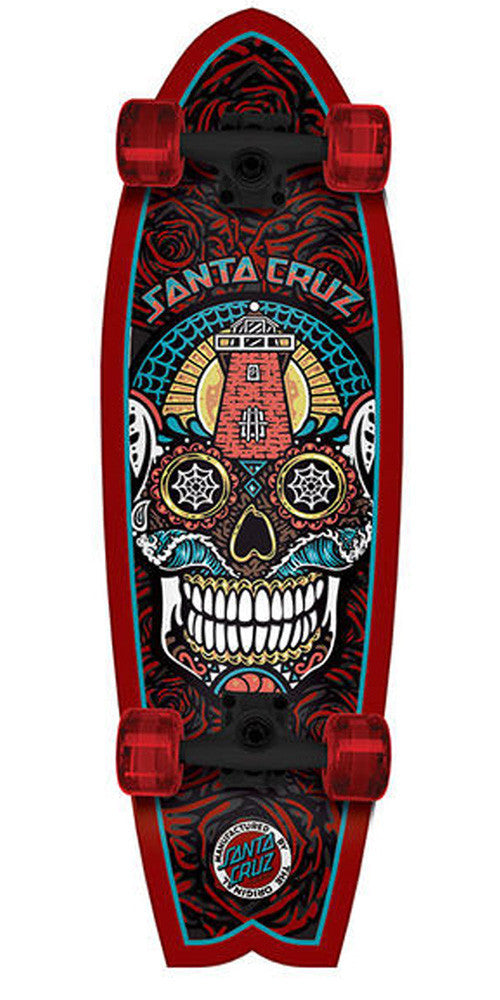 Santa Cruz Sugar Skull Shark Cruzer - Red - 8.8in x 27.7in - Complete Skateboard