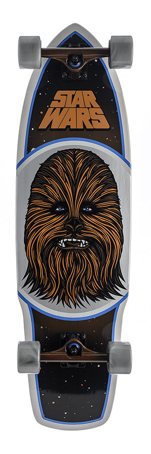 Santa Cruz Star Wars Chewbacca Cruzer - Black/White/Brown - 10in x 35in - Complete Skateboard