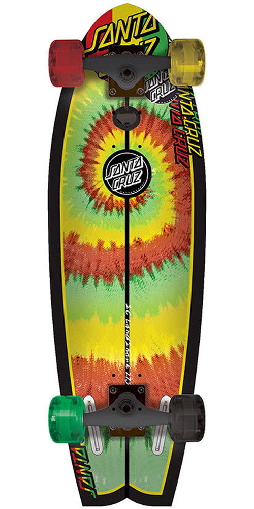 Santa Cruz Land Shark Rasta Tye Dye Cruzer - Red/Yellow/Green - 8.8in x 27.7in - Complete Skateboard
