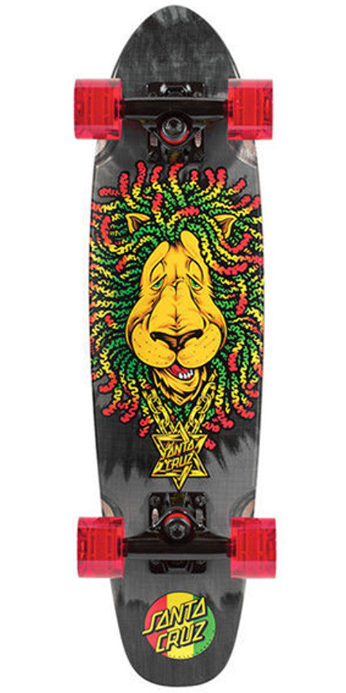 Santa Cruz Sidewalk Screamer Rasta Lion Cruzer - Black/Rasta - 6.4in x 25.3in - Complete Skateboard