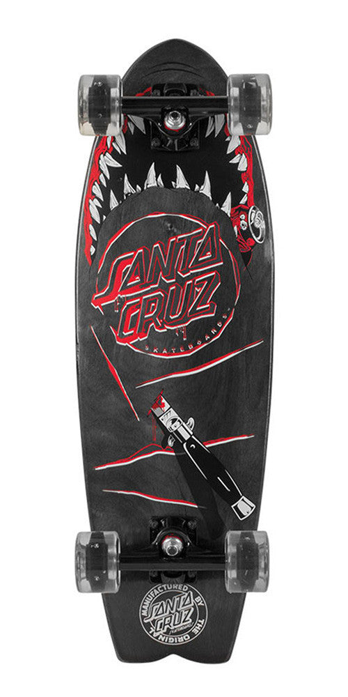 Santa Cruz Night Shark Cruzer - Black - 8.8in x 27.7in - Complete Skateboard