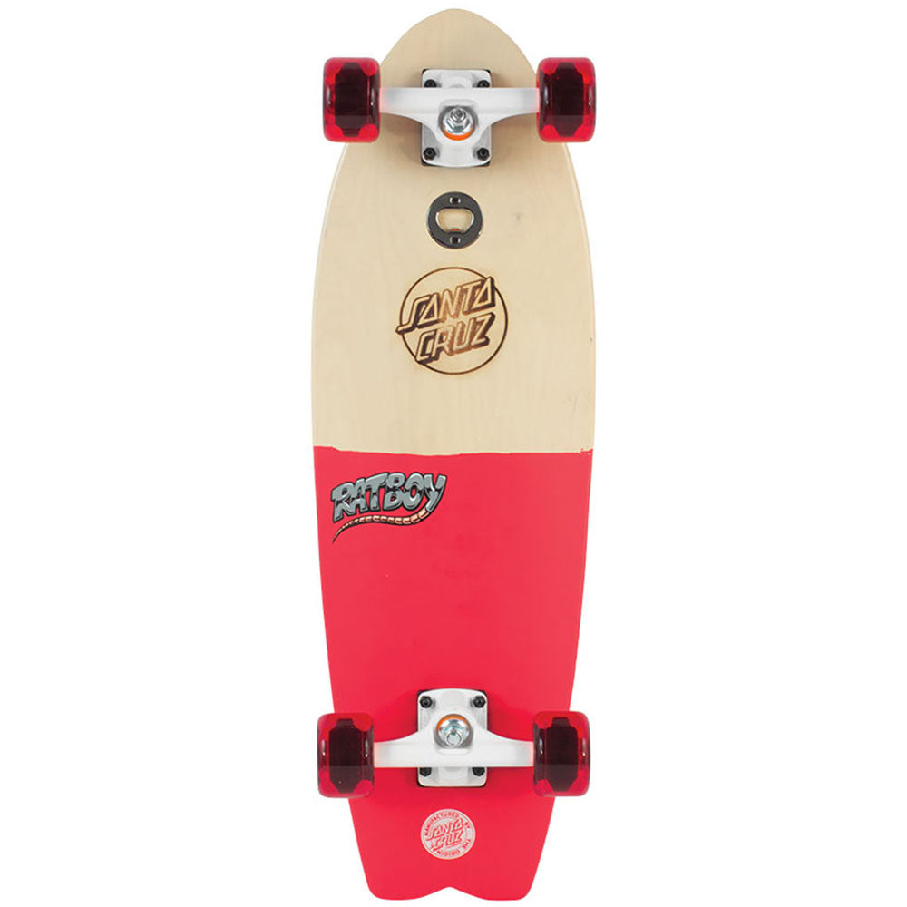Santa Cruz Ratboy Shark Cruzer - Natural/Pink - 8.8in x 27.7in - Complete Skateboard