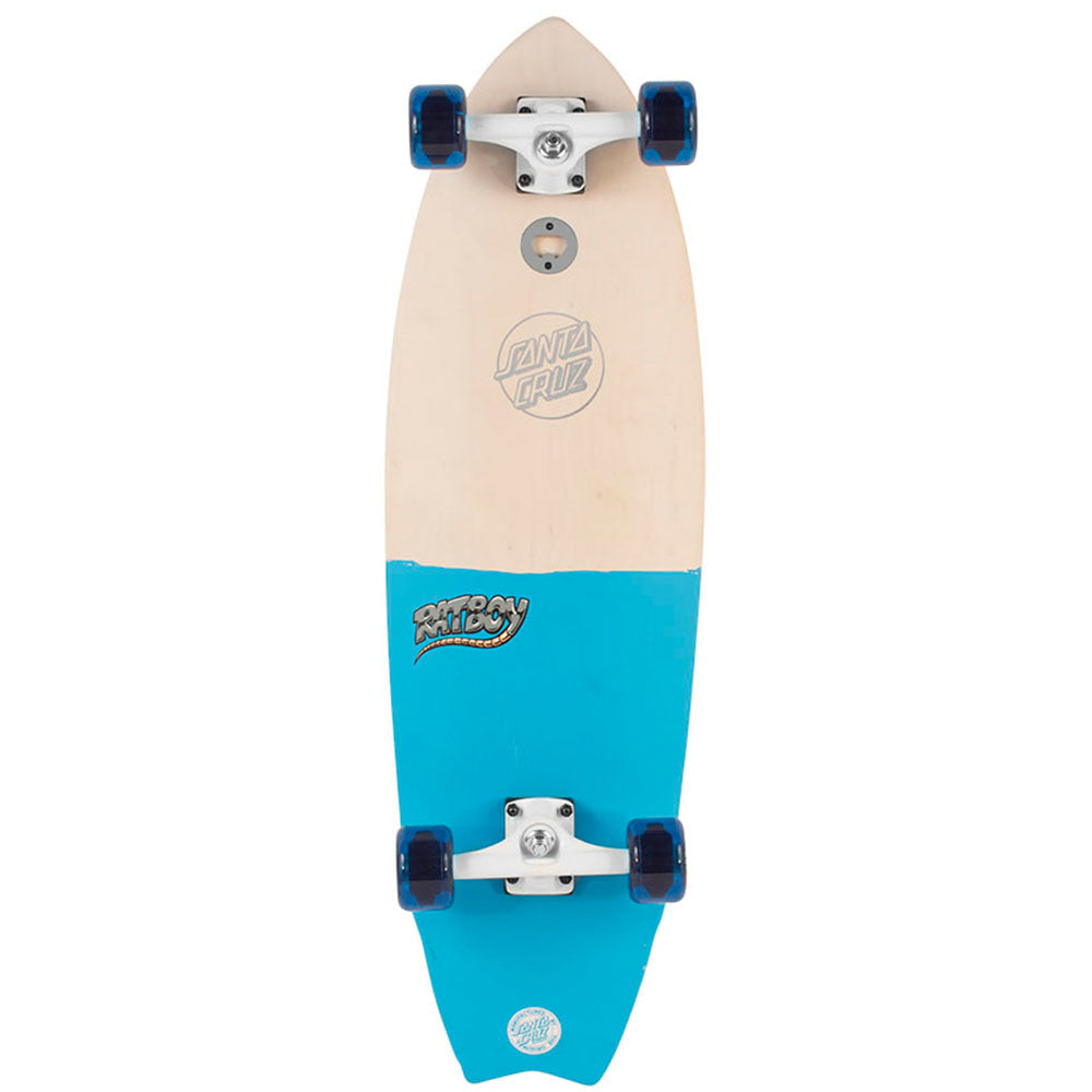 Santa Cruz Large Ratboy Shark Cruzer - Natural/Blue - 9.75in x 32.92in - Complete Skateboard