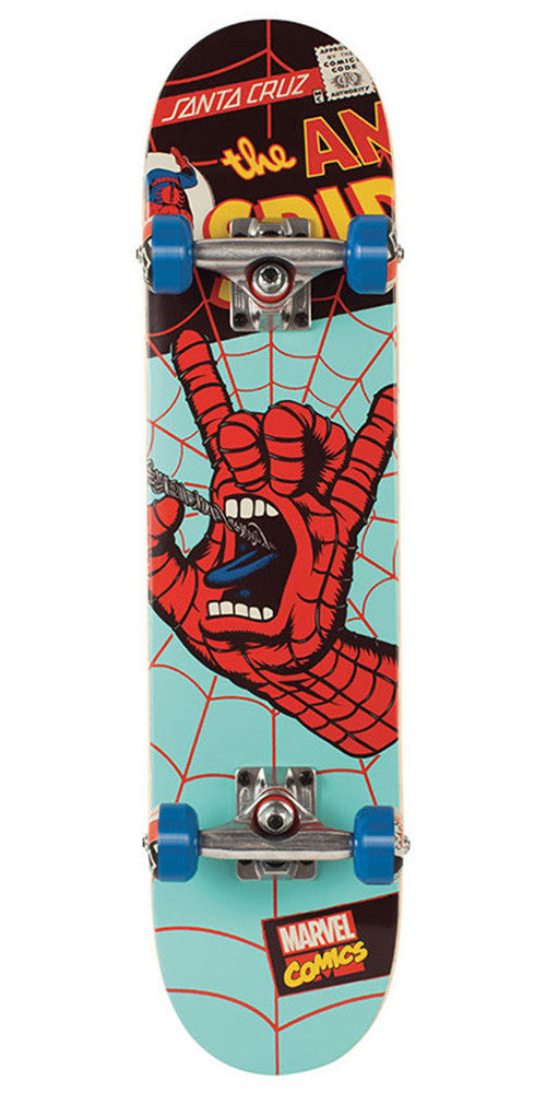 Santa Cruz Marvel Spiderman Hand Micro Sk8 - Teal - 6.75in x 28.5in - Complete Skateboard