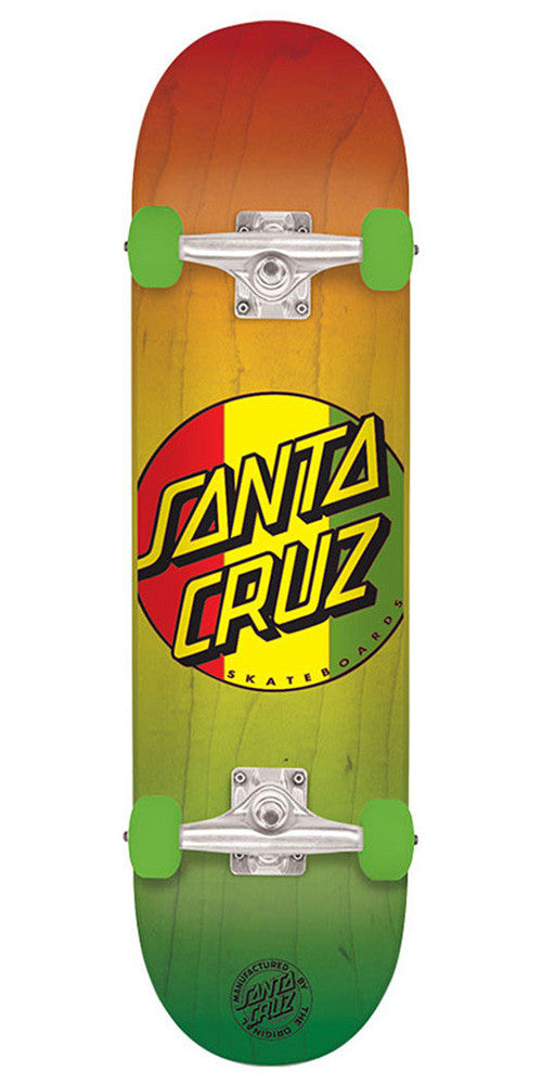Santa Cruz Rasta Dot Regular Sk8 - Rasta - 7.7in x 31.4in - Complete Skateboard