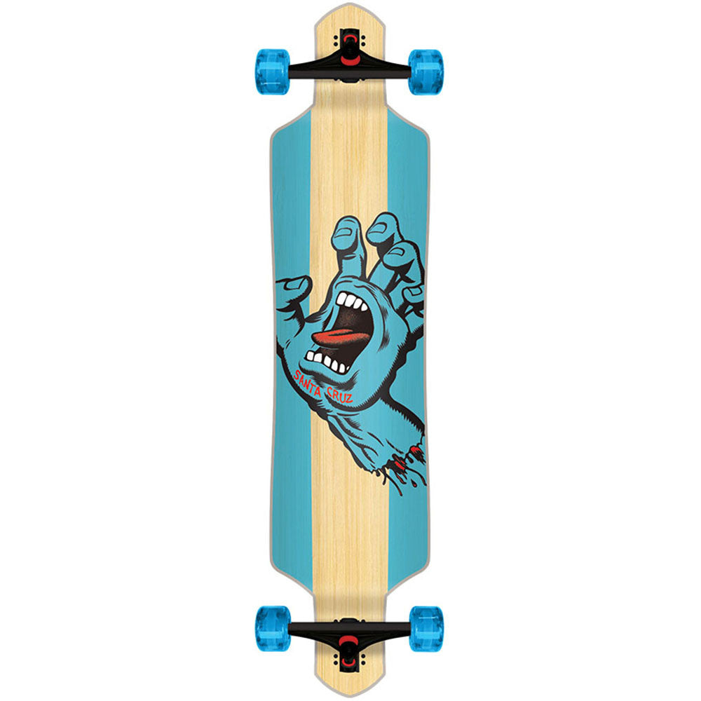 Santa Cruz Drop Thru Stained Hand Bamboo Cruzer - Blue - 9.2in x 41.0in - Complete Skateboard
