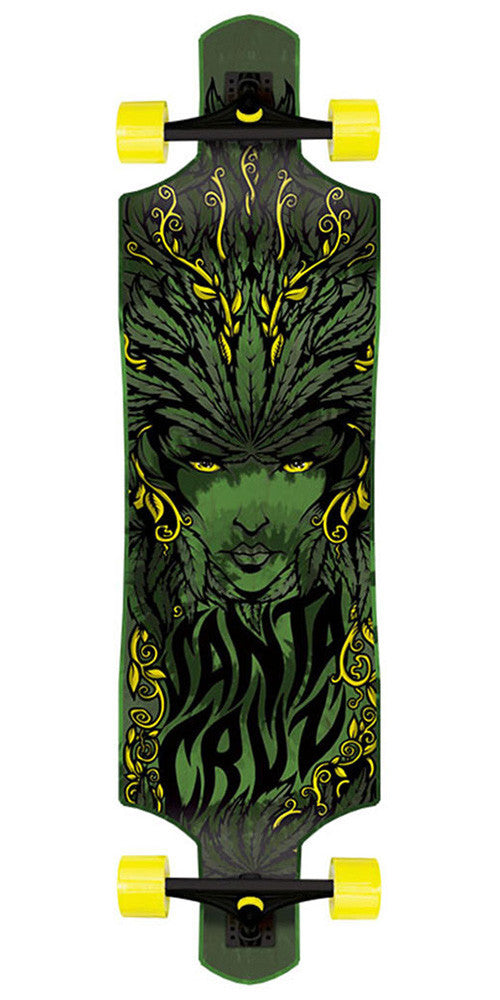 Santa Cruz Drop Thru Weed Goddess Cruzer - Green - 10.0in x 40.0in - Complete Skateboard