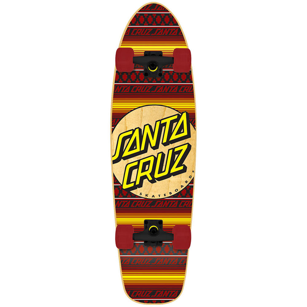 Santa Cruz Jammer Serape Cruzer - Red/Yellow - 7.4in x 29.1in - Complete Skateboard