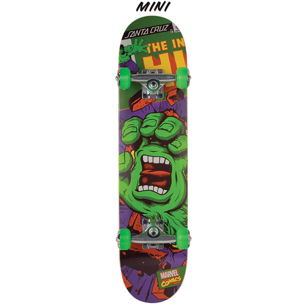 Santa Cruz Marvel Hulk Hand Mini - Green/Purple - 7.0in x 29.2in - Complete Skateboard