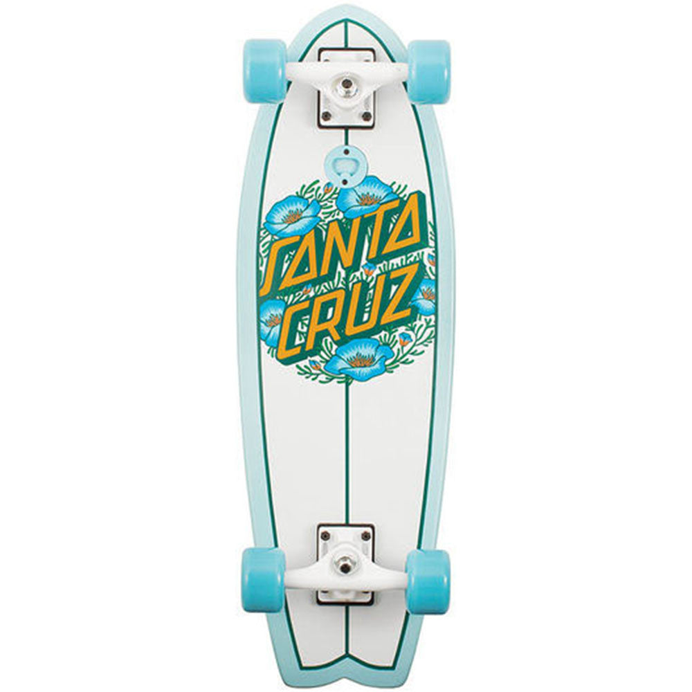 Santa Cruz Poppy Dot Shark Cruzer - White - 8.8in x 27.7in - Complete Skateboard