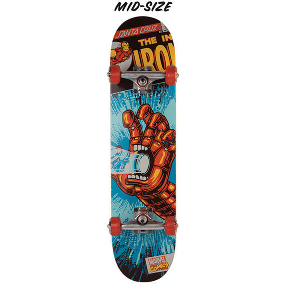 Santa Cruz Marvel Ironman Hand Mid - Blue/Red - 7.25in x 29.9in - Complete Skateboard