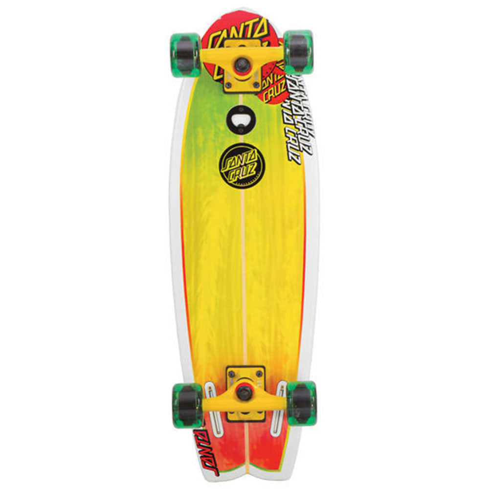Santa Cruz Land Shark Cruzer - Rasta - 8.8in x 27.7in - Complete Skateboard
