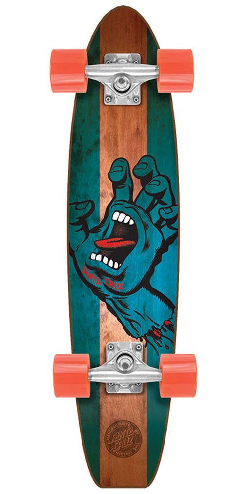 Santa Cruz Jammer Stained Hand Pickle Cruzer - Natural/Blue - 6.8in x 28.95in - Complete Skateboard